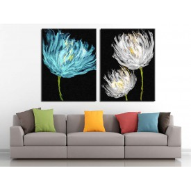 Beyaz ve Mavi Çiçekler Yağlı Boya Görünüm 2 Parça Kanvas Tablo dkm-k71-k1-4-5