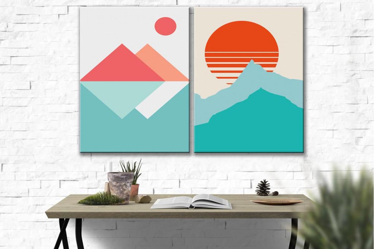 Dağ ve Güneş 2 Parça Kanvas Tablo dkm-k73-k1-1-4