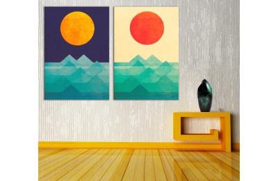 Ay ve Güneş 2 Parça Kanvas Tablo dkm-k73-k2-7-8