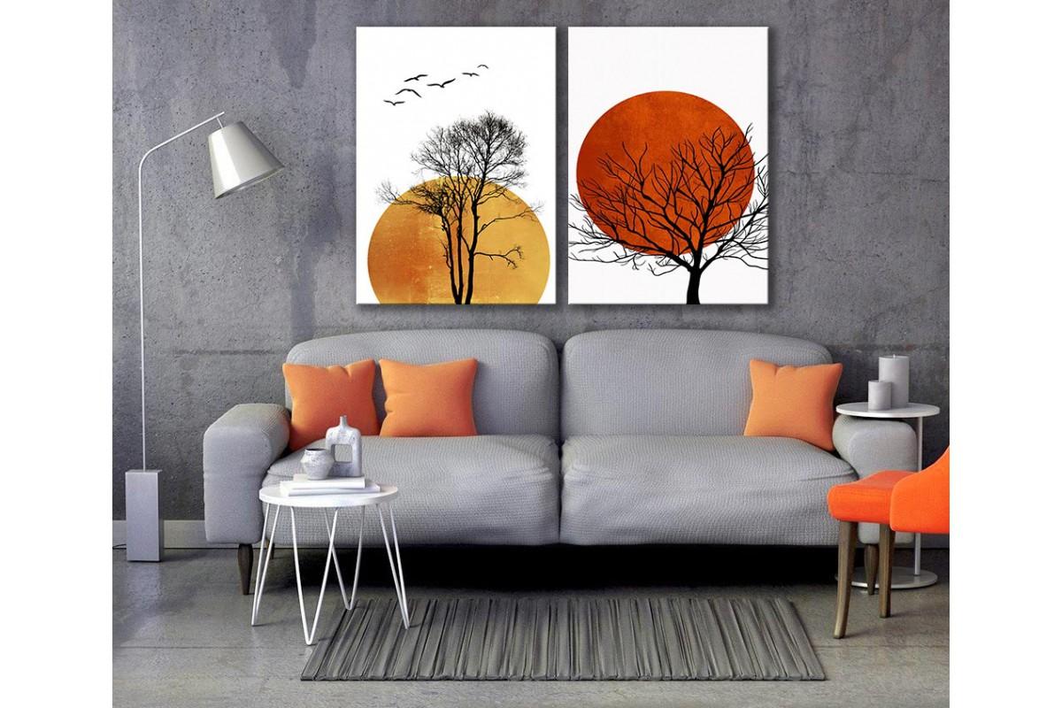 Ay ve Ağaçlar 2 Parça Kanvas Tablo dkm-k73-k7-33-34