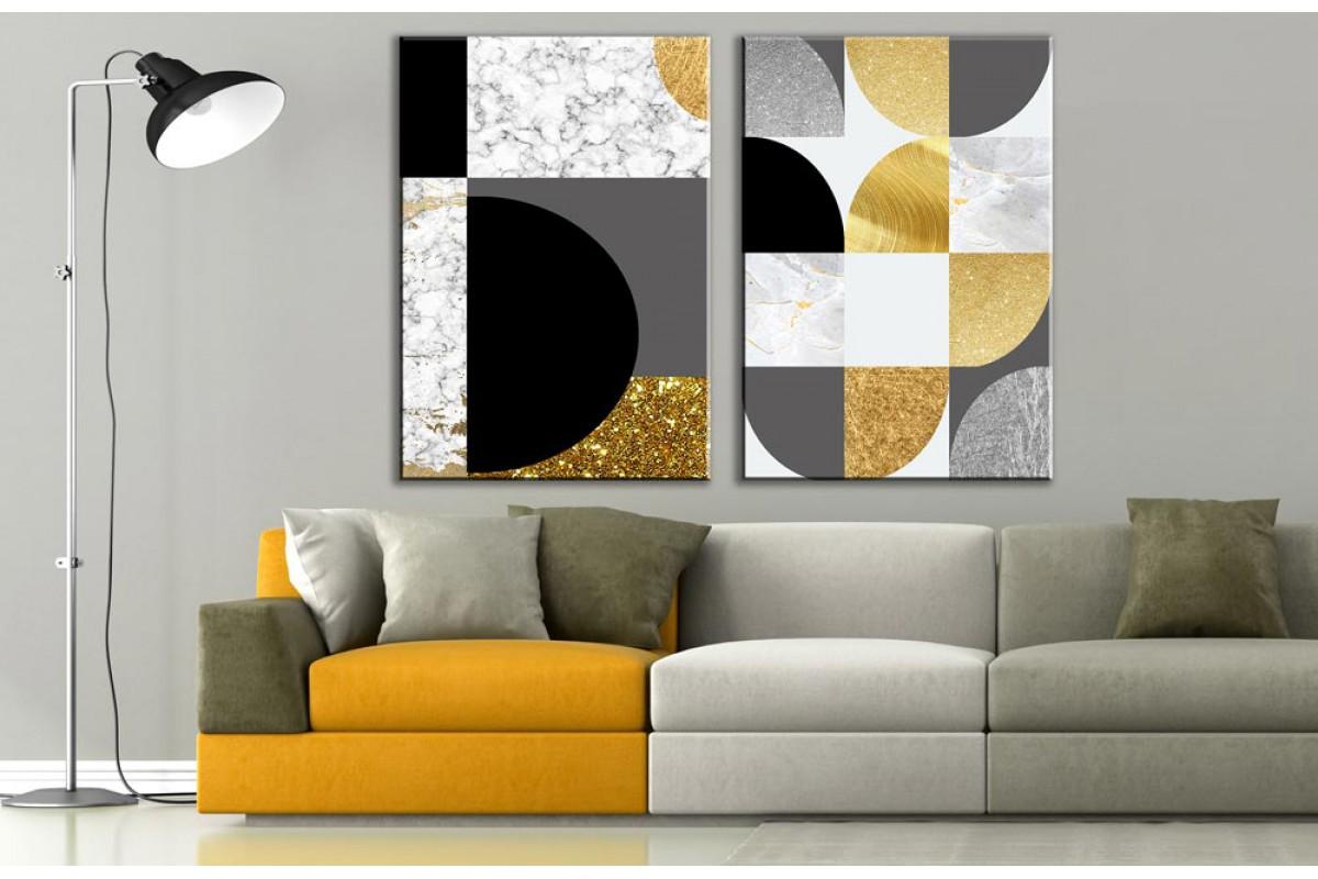 Modern Sanat 2 Parça Soyut Kanvas Tablo dkm-k73-K8-m1m2