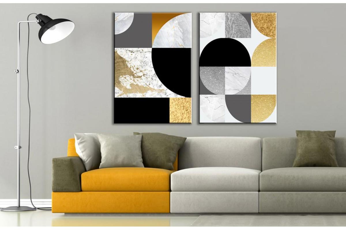 Modern Sanat 2 Parça Soyut Kanvas Tablo dkm-k73-K8-m3m5