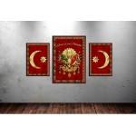 Osmanlı Devlet Arması ve Hilal Devlet Ebed Müddet Kırmızı Kanvas Tablo dkm-k74-1