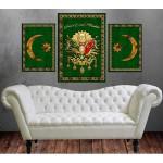Osmanlı Devlet Arması ve Hilal Devlet Ebed Müddet Yeşil Kanvas Tablo dkm-k74-1y