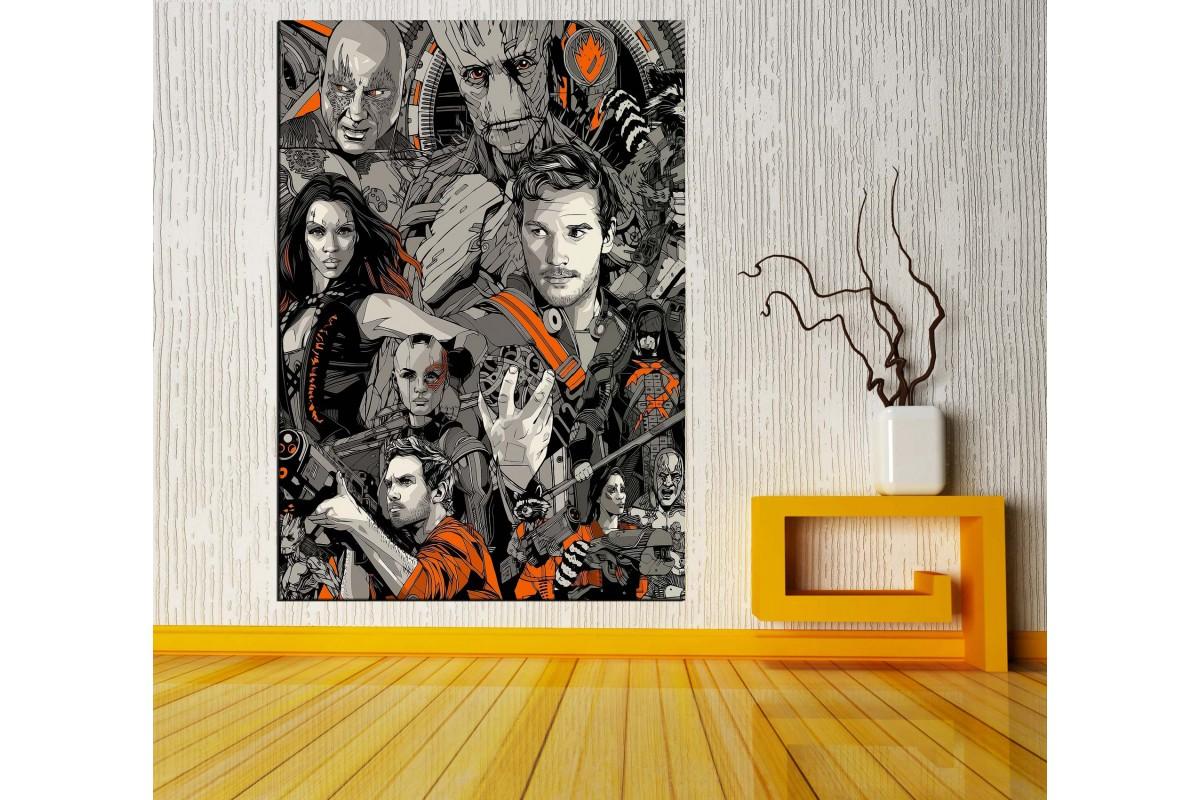 Guardians Of Galaxy Karakterler Çizim Dikey Kanvas Tablo vng04