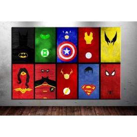Süper Kahramanlar Minimalist Kanvas Tablo dkm-vng20