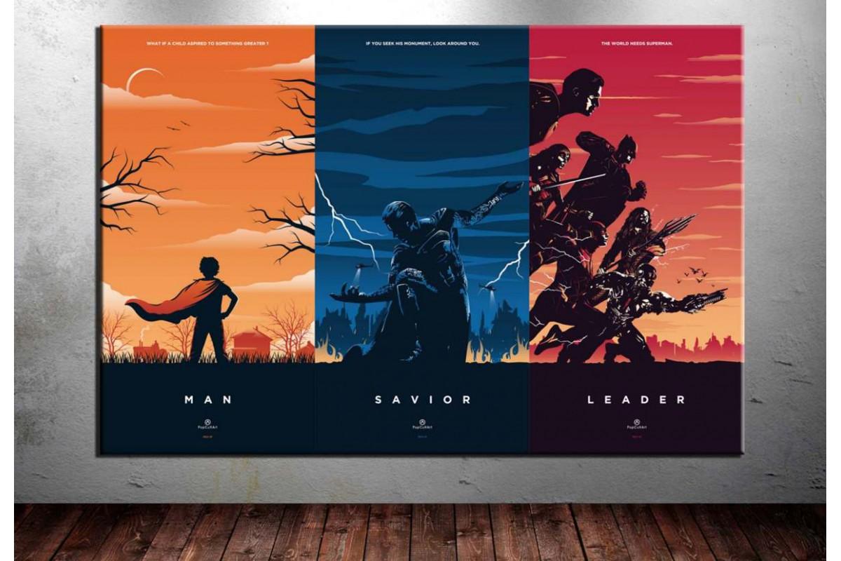 Superman ve Kahramanlar Kanvas Tablo dkm-vng22