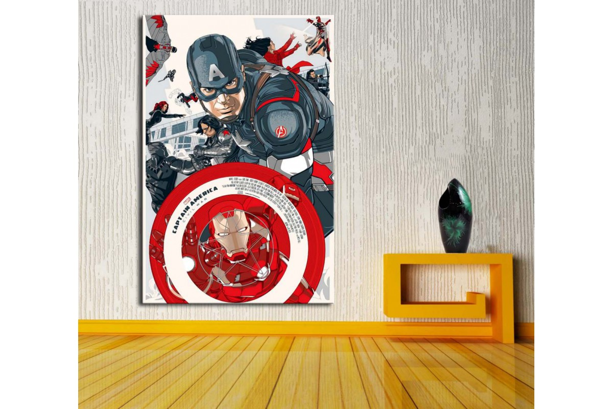 Captain America Ironman Civil War Kanvas Tablo dkm-vng29