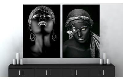 Afrikalı Kadın Gümüş Renk İkili Konsept Kanvas Tablo dkm-zk210