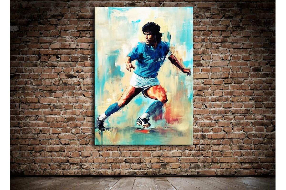 Maradona Yağlı Boya Görünüm Kanvas Tablo dkm115