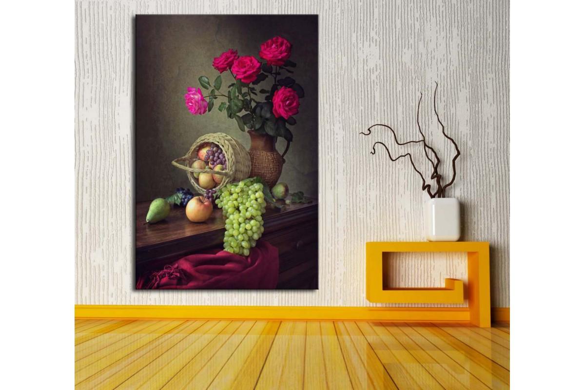 Natürmort Çiçek ve Meyveler Yağlı Boya Görünüm Kanvas Tablo dkm116