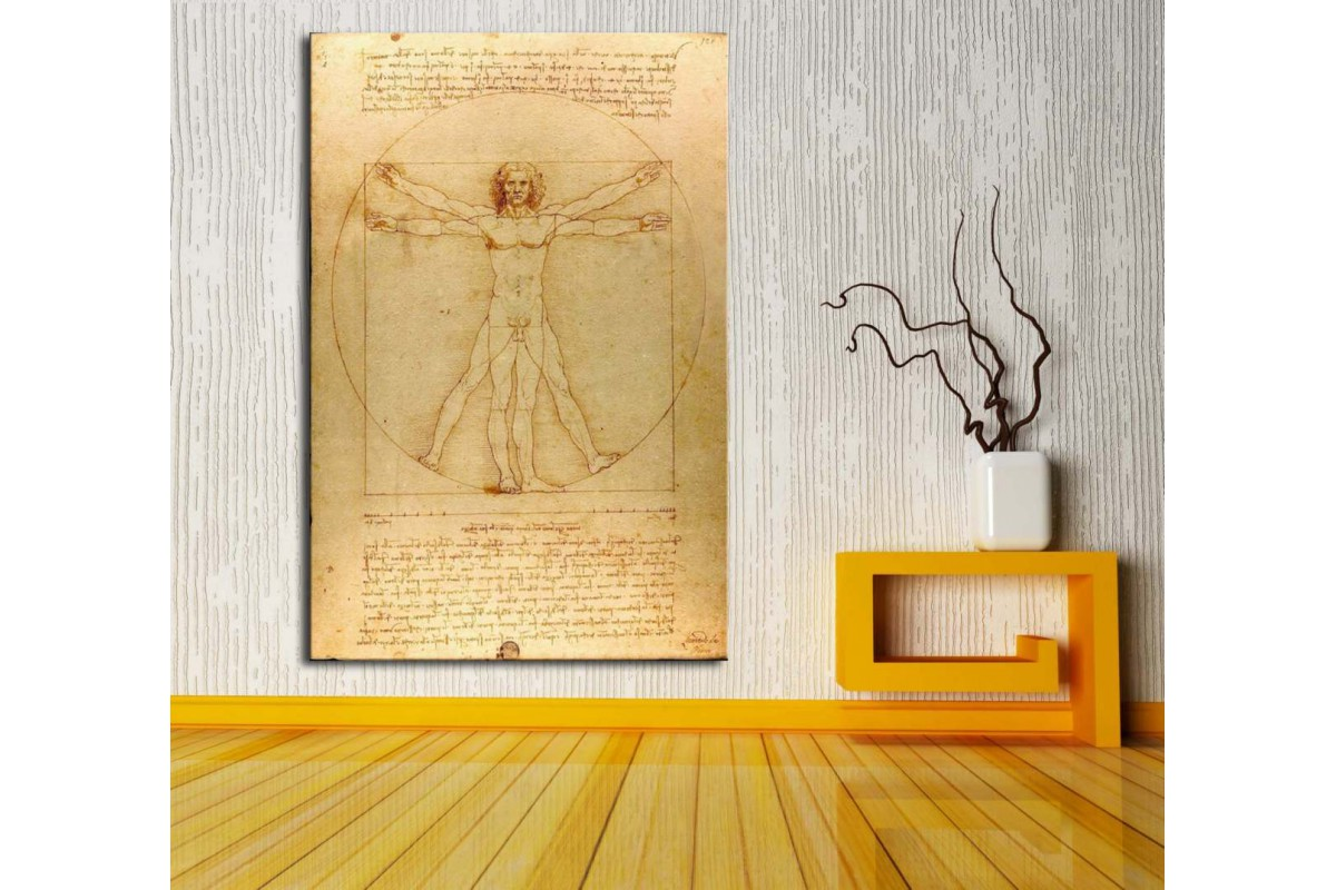 Da Vinci Vitruvius Adamı Kanvas Tablo dkm118