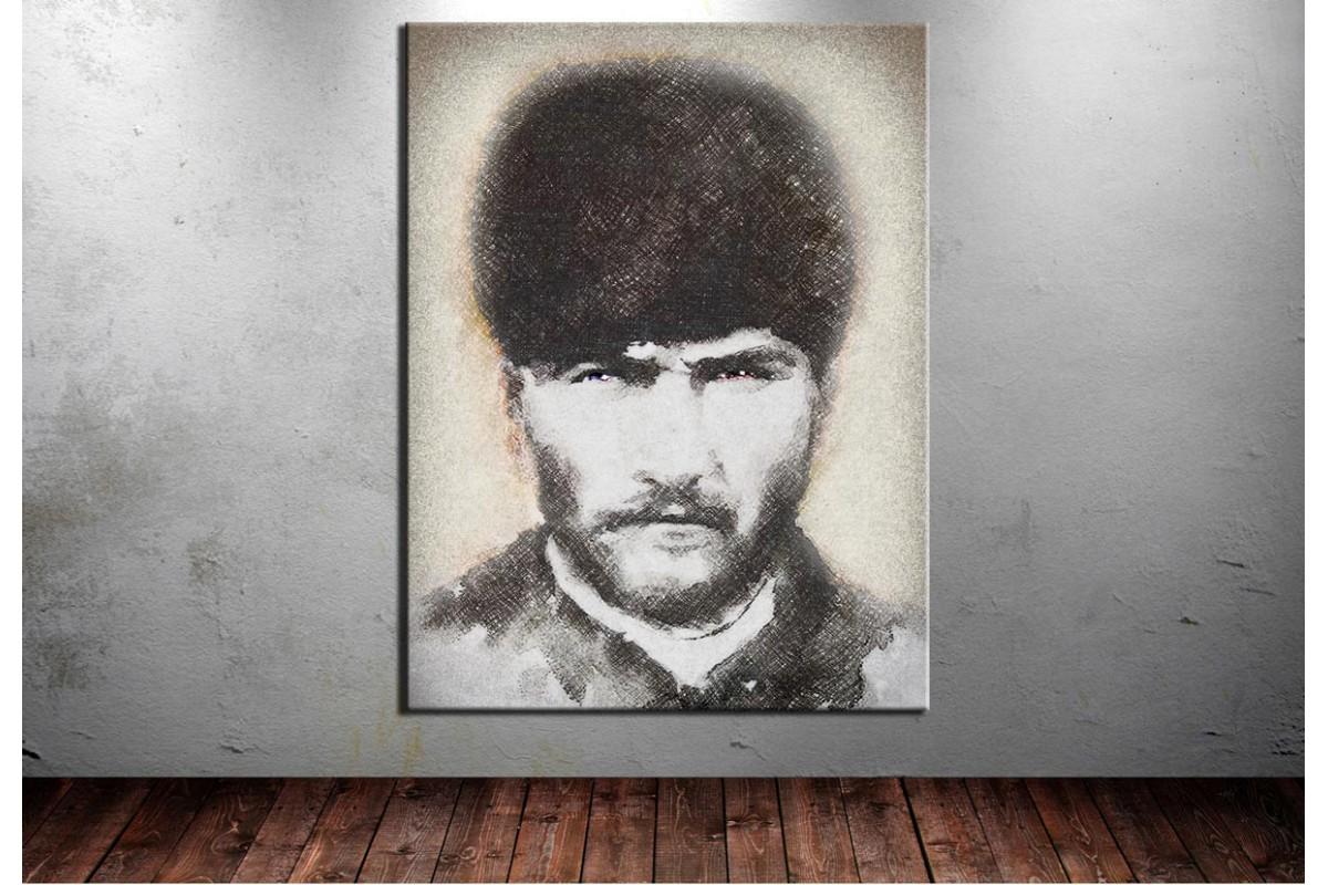 Atatürk Tablosu Trablusgarp Cephesi Dijital Karakalem dkm129