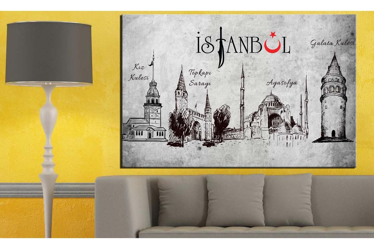 İstanbul Galata Kulesi Kız Kulesi Ayasofya ve Topkapı Sarayı Tablo dkm130