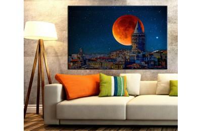 İstanbul Galata Kulesi Gece ve Dolunay Kanvas Tablo dkm131