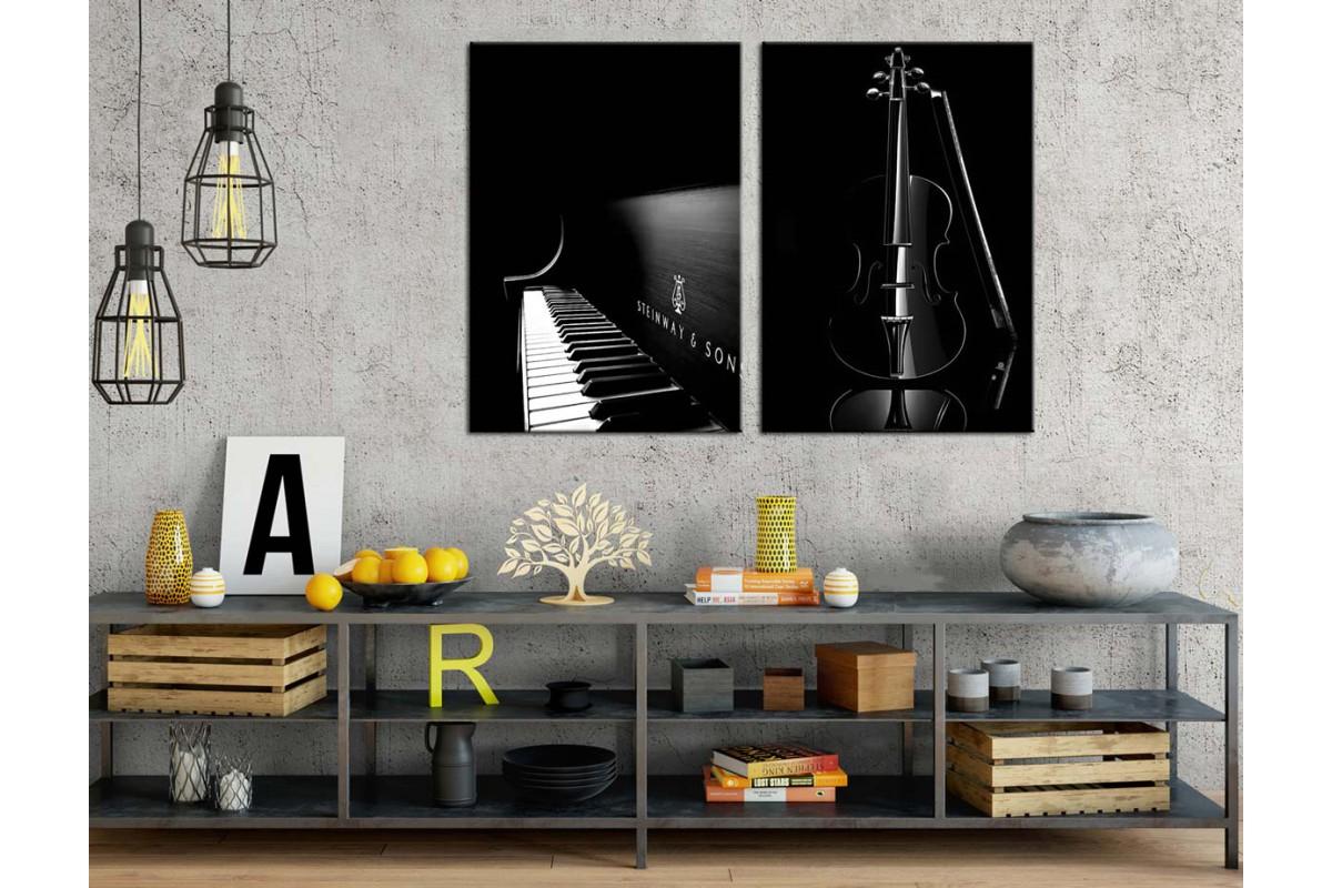 Müzik Enstrümanları Siyah Konsept İkili Kanvas Tablo dkm2364