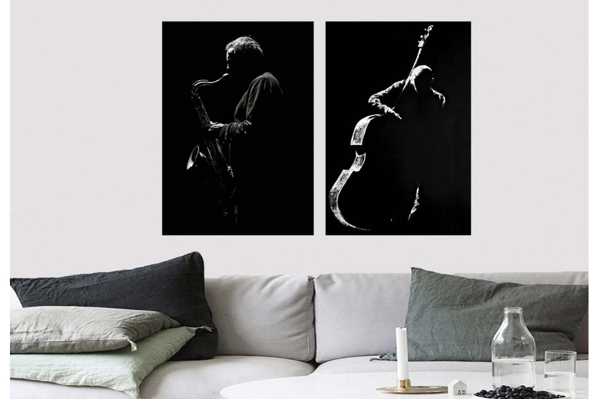 Müzisyenler Siyah Konsept İkili Kanvas Tablo dkm4-5