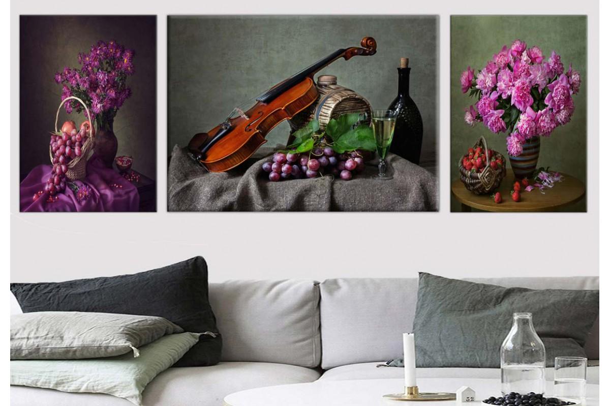 Meyveler, Şarap, Keman ve Çiçekler Kanvas Tablo dkm798081
