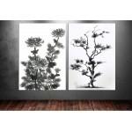Süs Bitkisi İkili Siyah Dekoratif Kanvas Tablo dkm8283