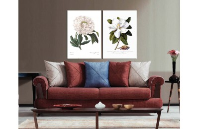 Çiçekler Retro Konsept İkili Kanvas Tablo dkm8990