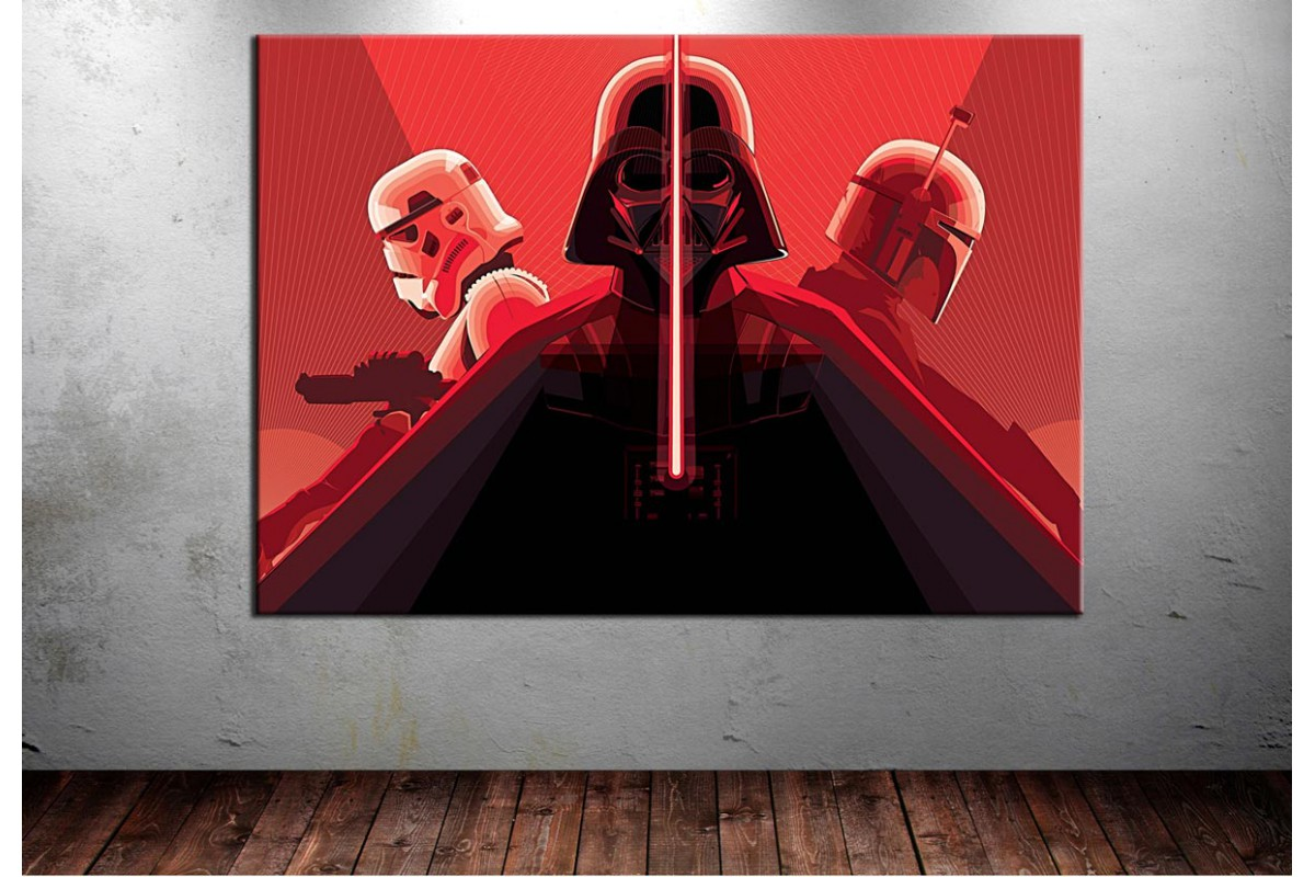 Darth Vader Stormtrooper ve Boba Fett Kanvas Tablo dkmr140