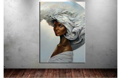 Bulut Şapkalı Kadın Kanvas Tablo dkmr146