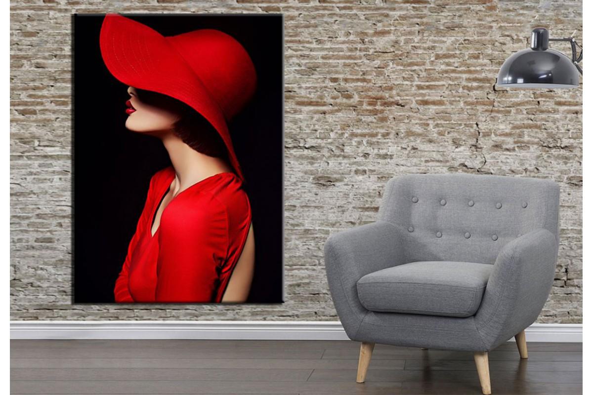 Kırmızı Şapkalı Kadın Kanvas Tablo dkmr153