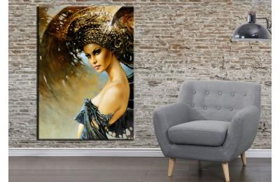 Fantastik Kadın Kanatlar Sol Yağlı Boya Görünüm Kanvas Tablo dkmr155