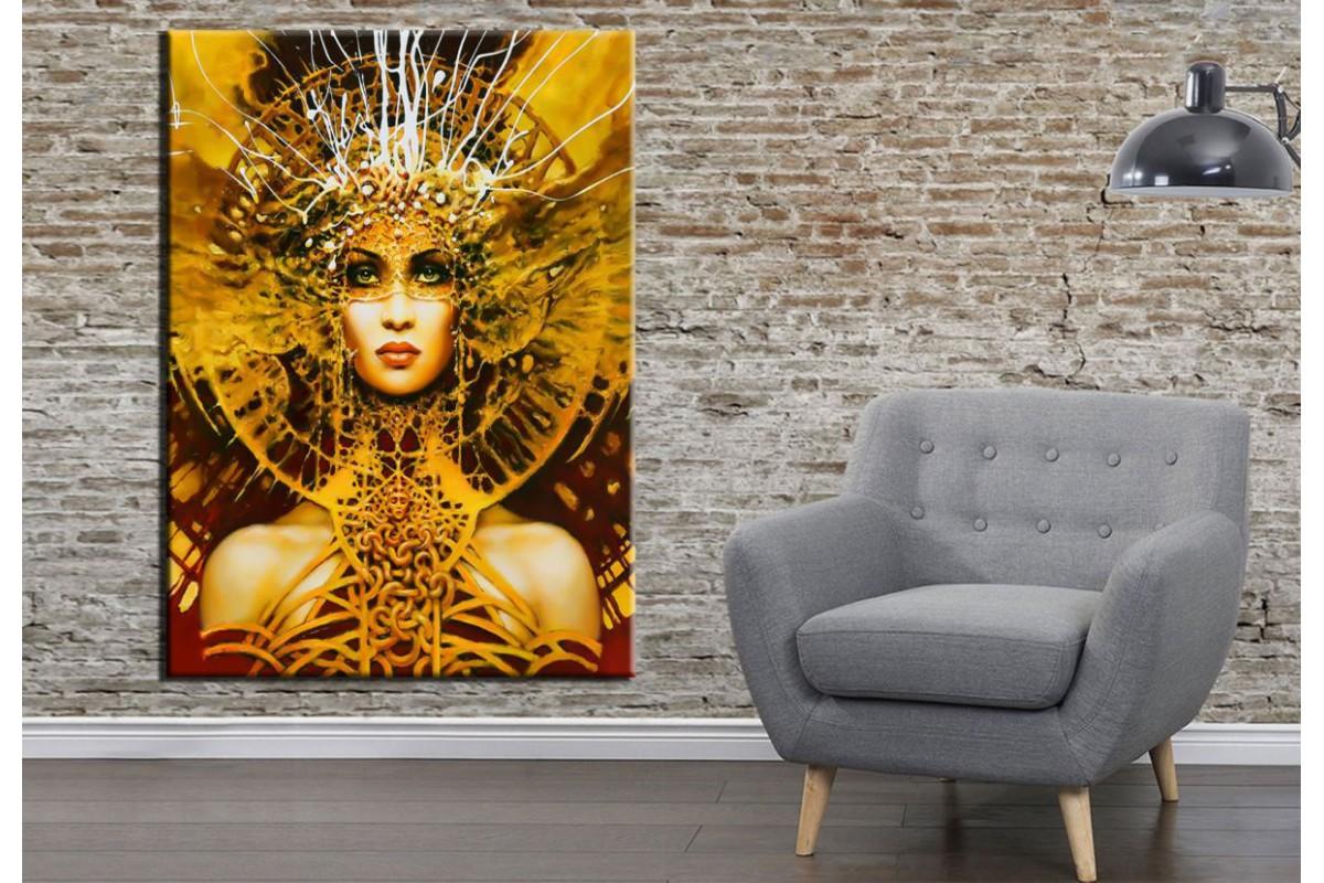 Fantastik Kadın Yüzü Ön Yağlı Boya Görünüm Kanvas Tablo dkrm157