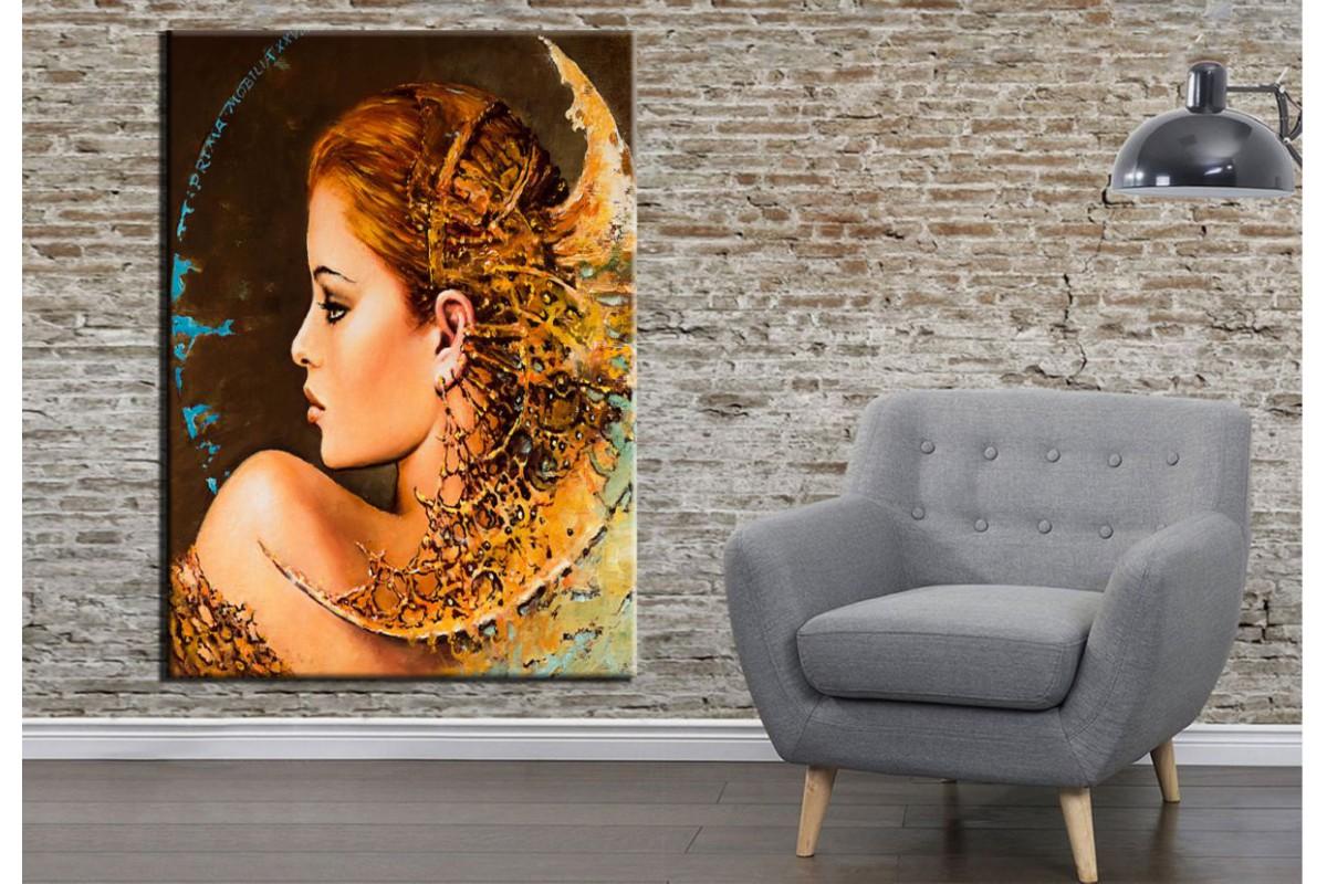 Fantastik Kadın Yüzü Sol Yağlı Boya Görünüm Kanvas Tablo dkrm158