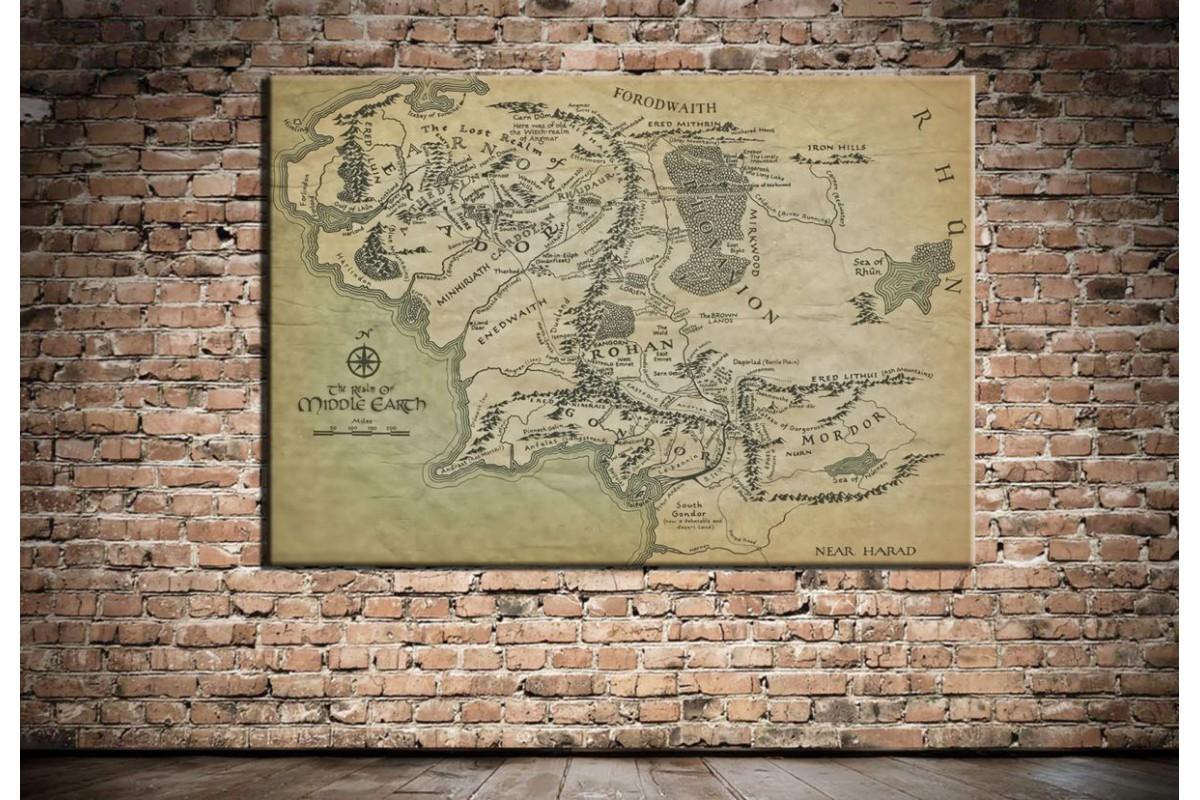 Lord Of The Rings Orta Dünya Haritası Kanvas Tablo dkmr161