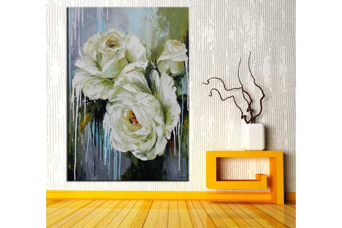 Beyaz Çiçekler Yağlı Boya Görünüm Kanvas Tablo dkmr178