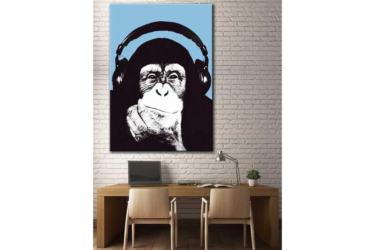 Müzik Dinleyen Kulaklıklı Maymun Kanvas Tablo dkmr183