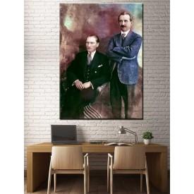 Atatürk İsmet İnönü Renklendirme Kanvas Tablo dkmr188