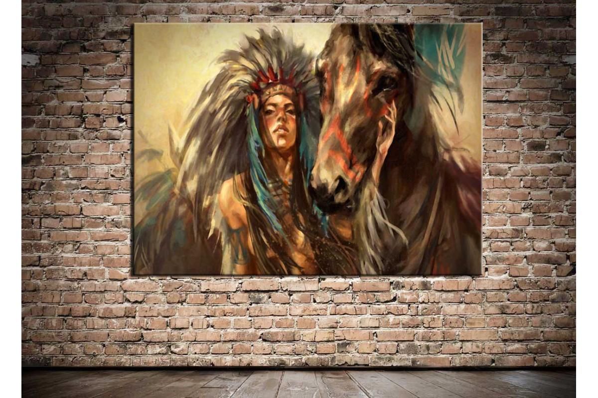 Kızılderili Kadın Savaşçı ve At Kanvas Tablo dkmr189