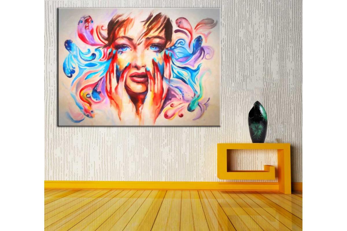 Kız ve Renkler Kanvas Tablo dkmr192