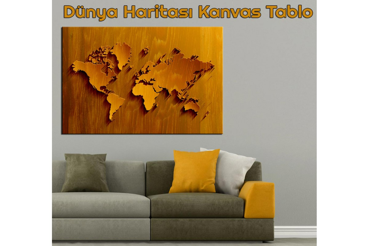 Dünya Haritası Kanvas Tablo Ağaç Görünümlü Açık Kahverengi dkmr197