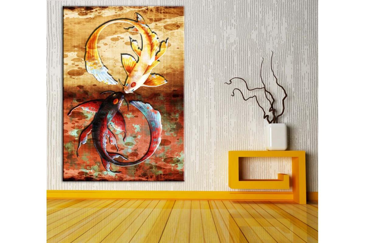 Feng Shui Balıklar Renkler Kanvas Tablo dkmr212