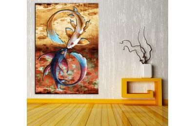 Feng Shui Balıklar Düz Renkler Kanvas Tablo dkmr213