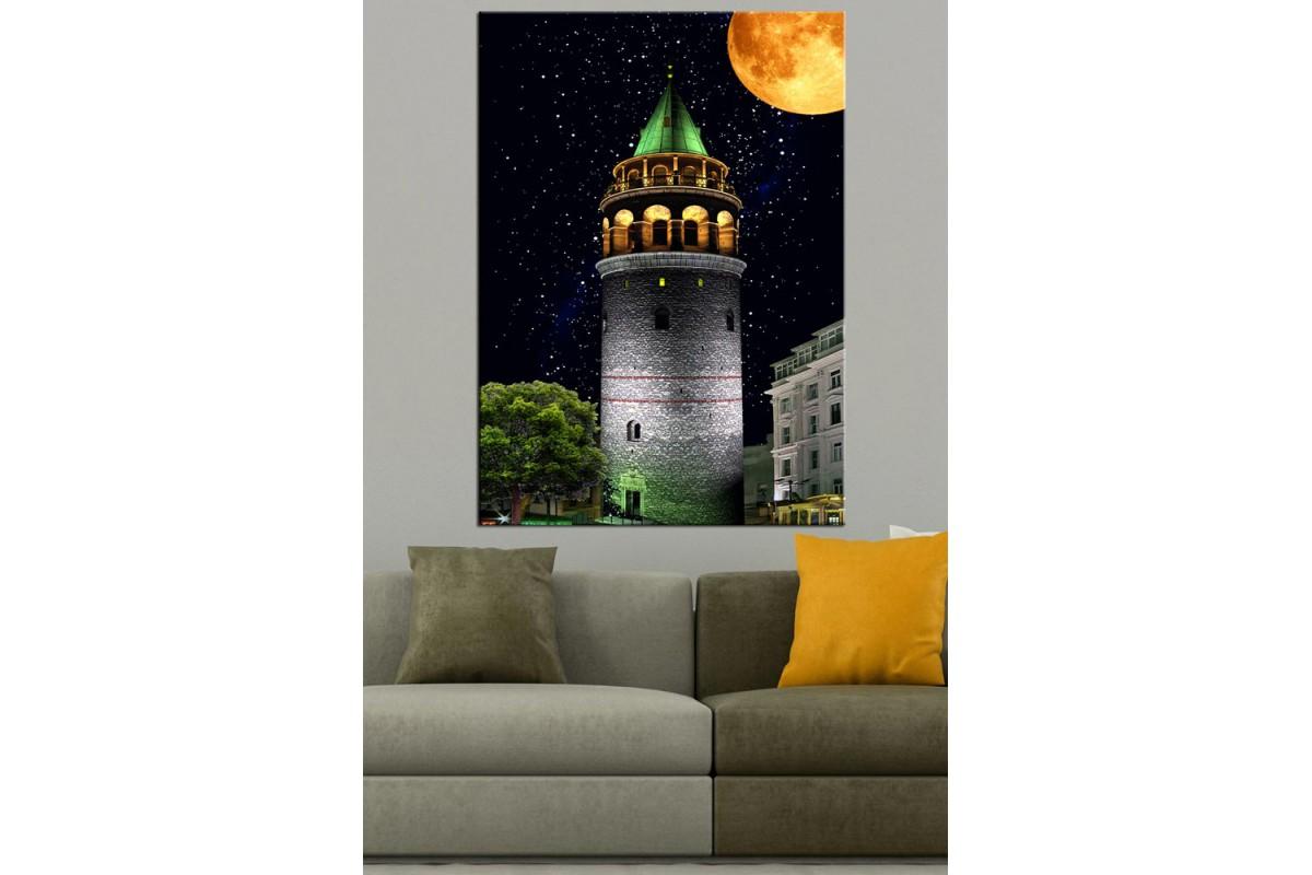 Galata Kulesi İstanbul Masalsı Gece Kanvas Tablo dkmr220