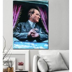 Renklendirilmiş Atatürk Tren Penceresinden Bakarken Kanvas Tablo dkmr231