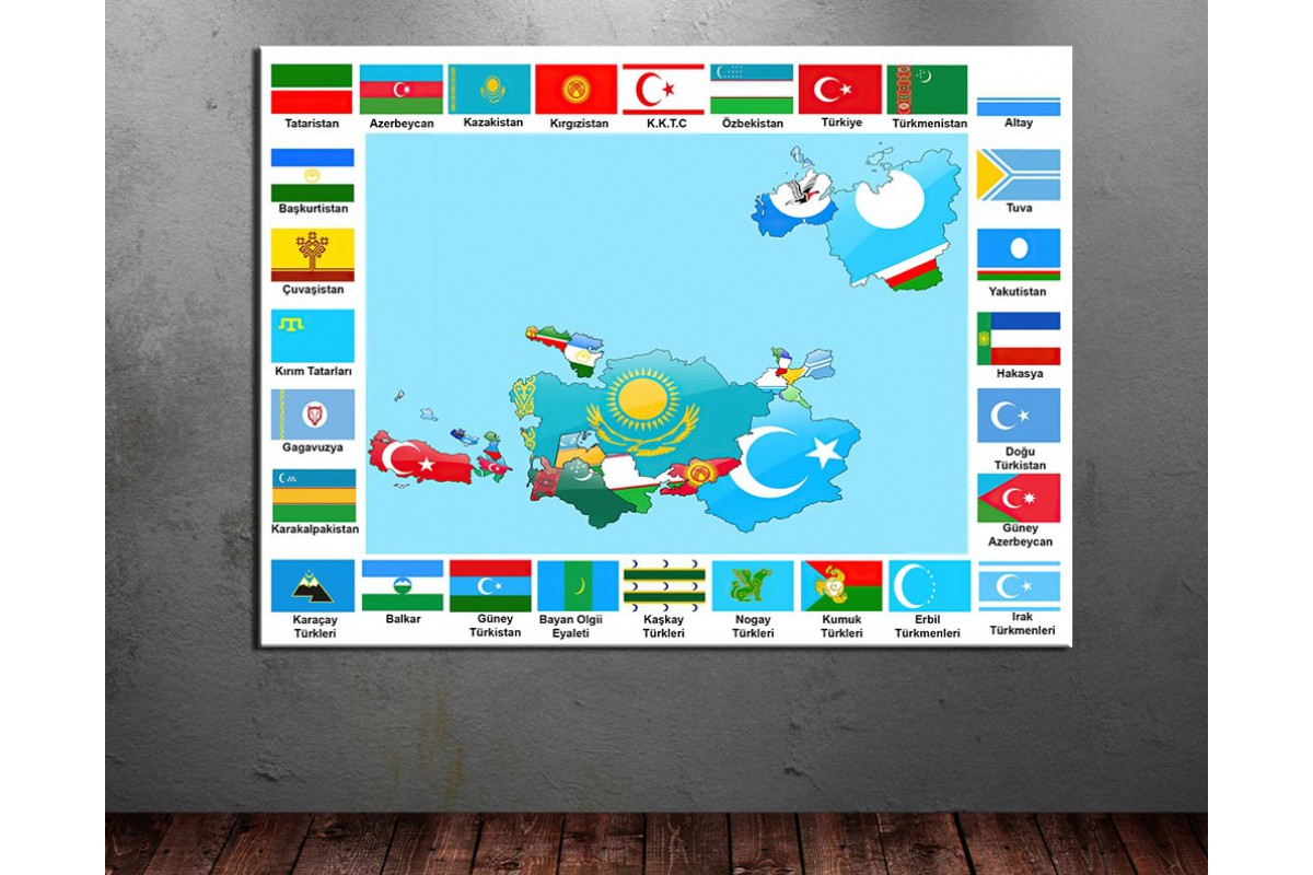 Türk Devletleri Bayrakları ve Dünya Türkleri Turan Haritası dkmr233