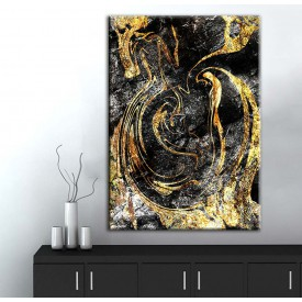 Soyut Gold Kanvas Tablo dkmr237