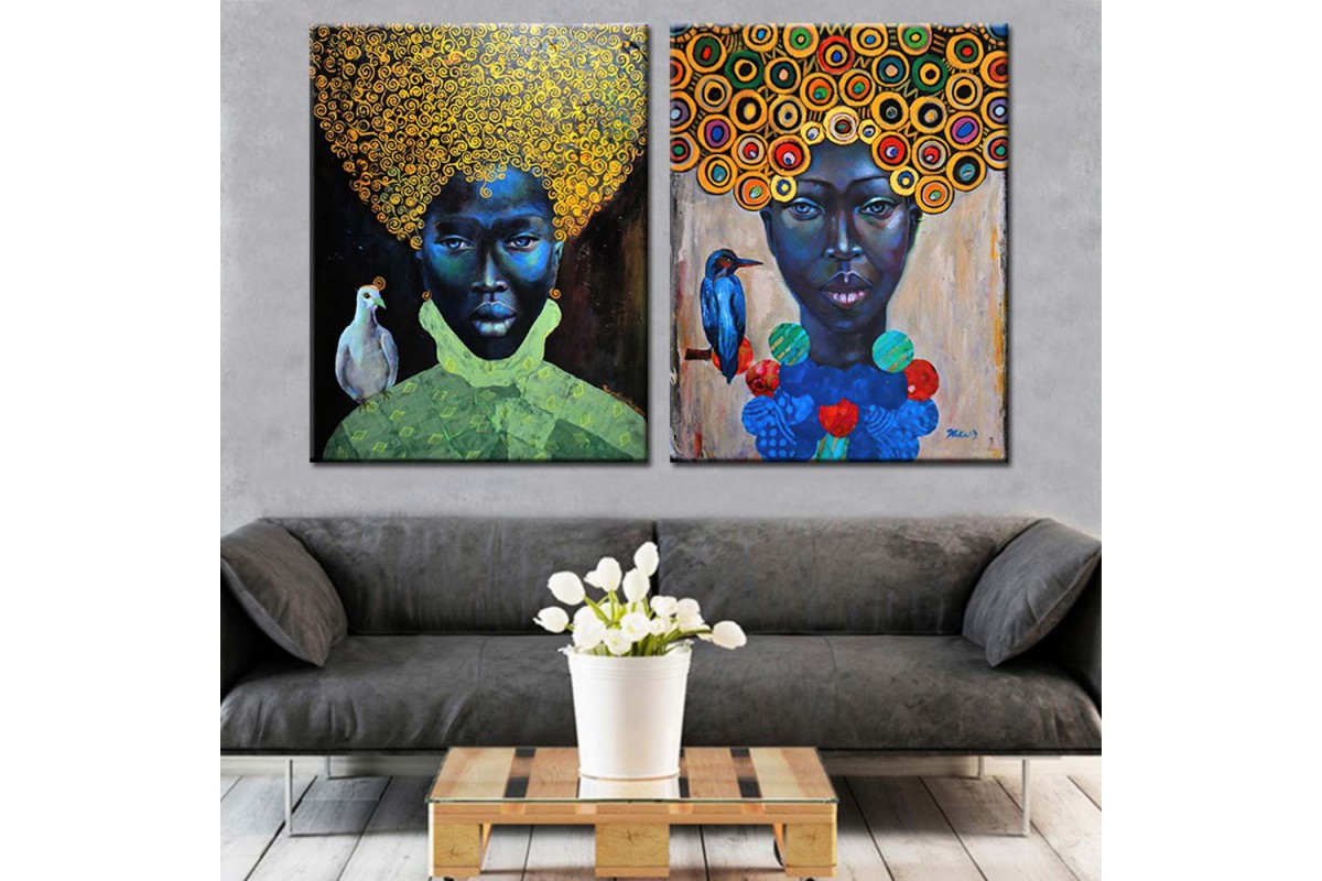 İki Afrikalı Kadın Yağlı Boya Görünüm 2 Parça Kanvas Tablo dkmr238a-b