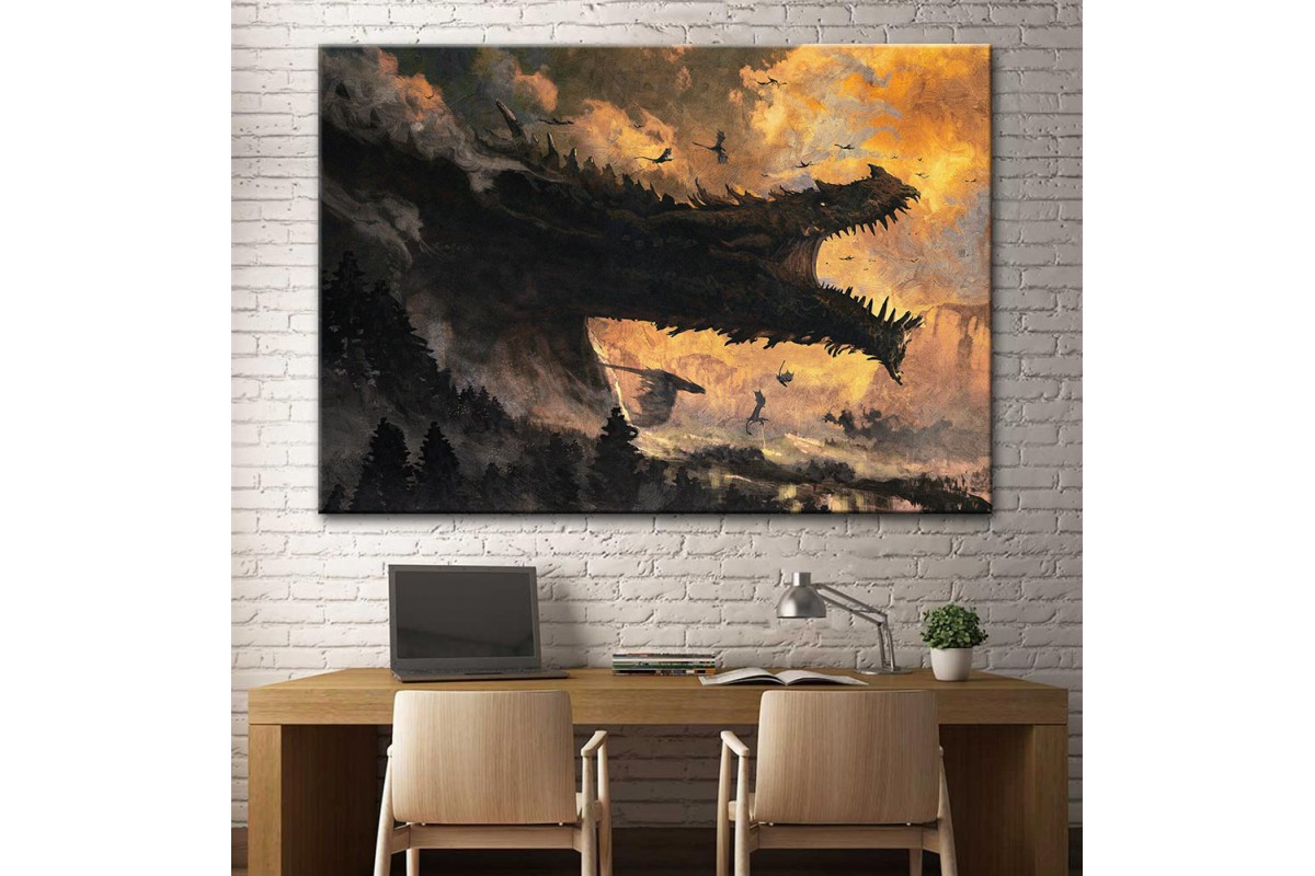 Ancalagon The Black Silmarillion Lotr Kanvas Tablo dsk-25