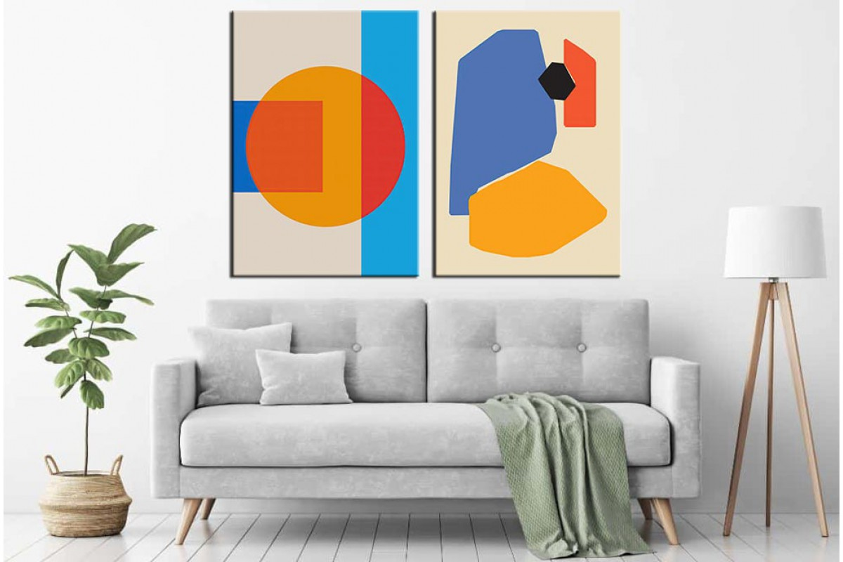 Renkler Geometrik Soyut 2 Parça Kanvas Tablo dsk-k1-2-3