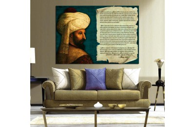 Fatih Sultan Mehmet Ayasofya Vakfiyesi Kanvas Tablo ecd3