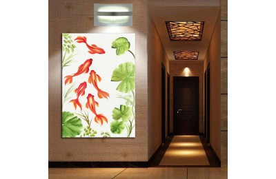 Japon Balıkları ve Nilüfer Yaprağı Shui Kanvas Tablo fngs5