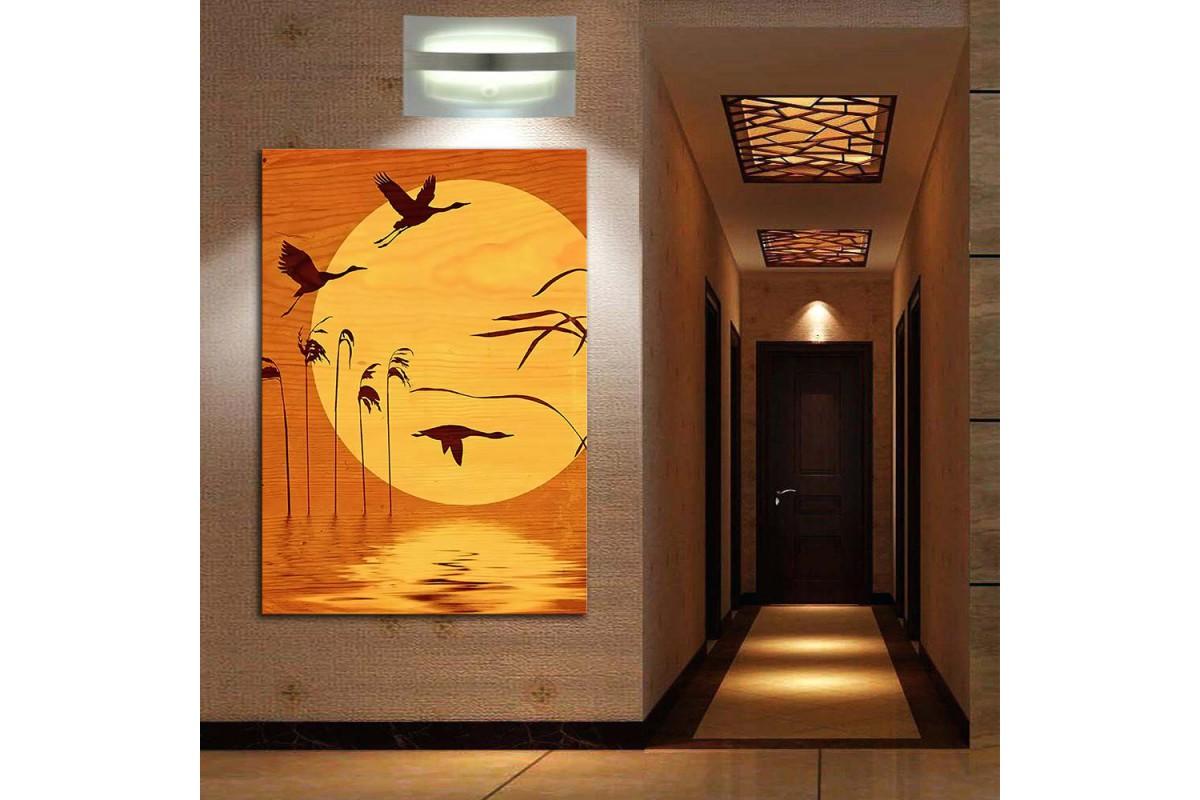 Kuşlar Gün Batımı Feng Shui Kanvas Tablo fngs6