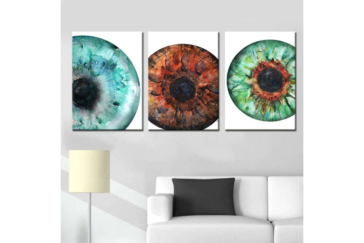 Göz Sağlığı Merkezi Göz Hastanesi Dekorasyonu 3 Parça Tablo goz-4910